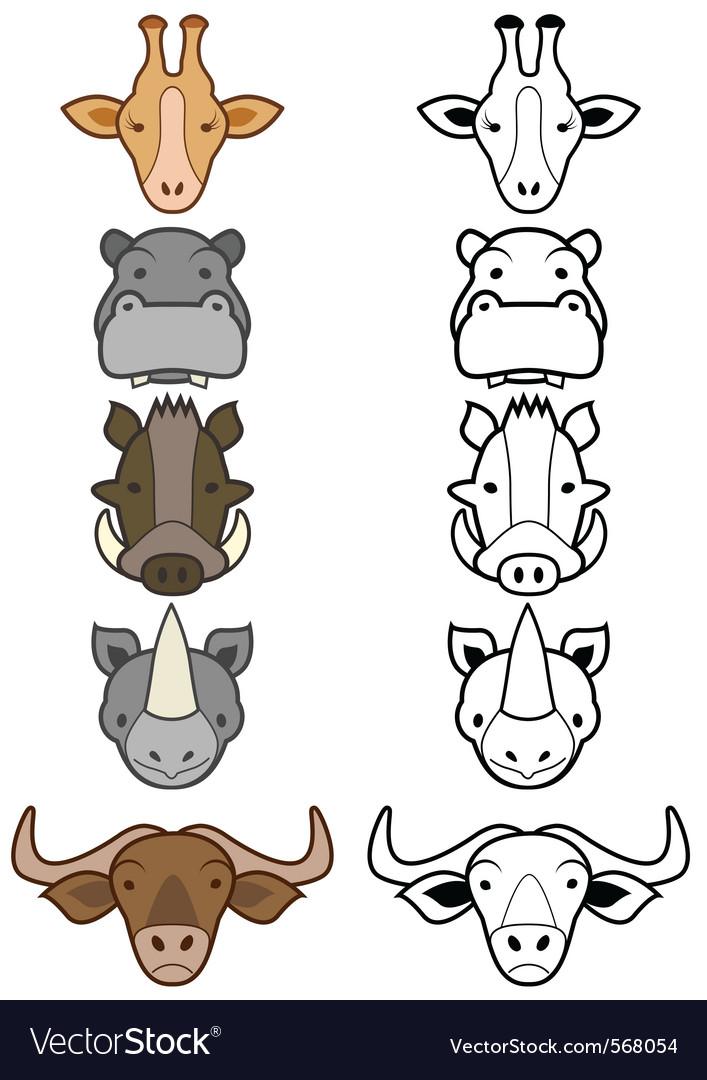 Cartoon zoo animals set vector | Price: 1 Credit (USD $1)