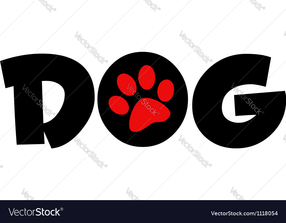Dog text with circle red paw print vector | Price: 1 Credit (USD $1)