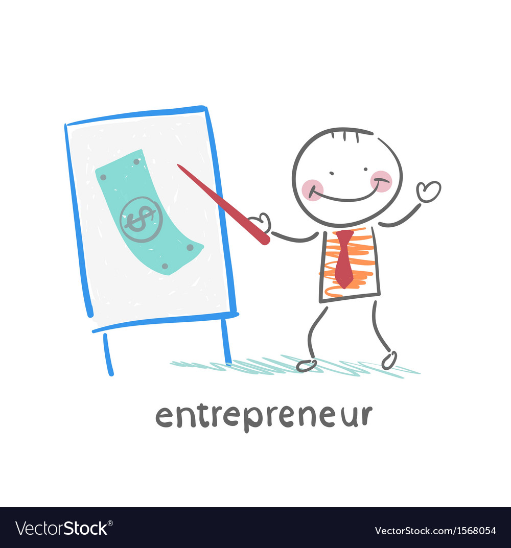Entrepreneur tells a presentation vector | Price: 1 Credit (USD $1)