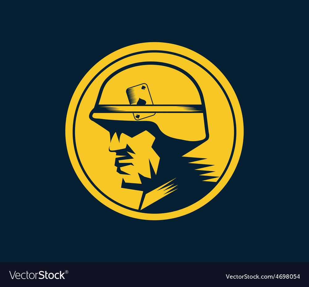 Soldier mascot label vector | Price: 1 Credit (USD $1)