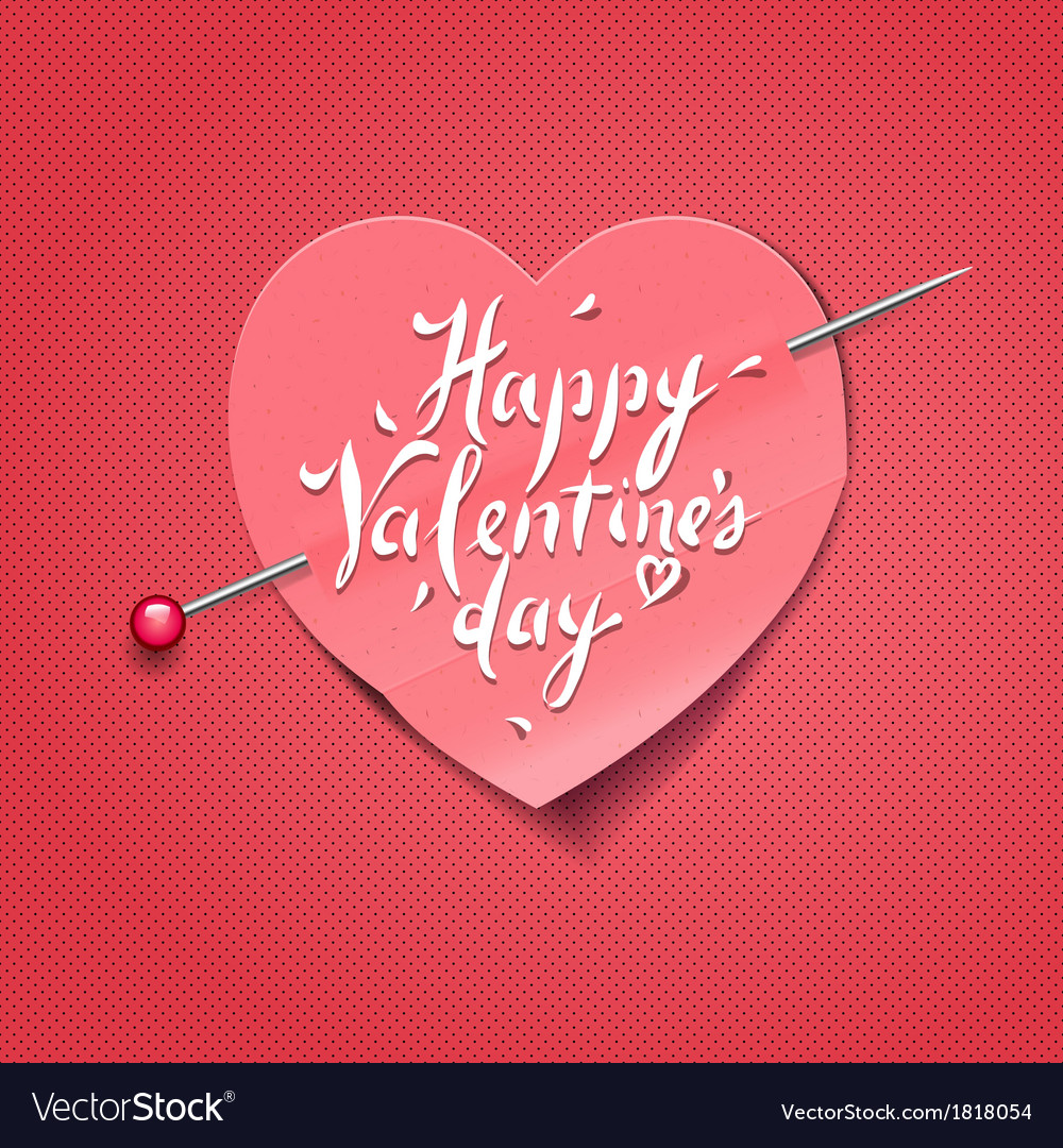 Valentines day card with paper heart shaped vector | Price: 1 Credit (USD $1)
