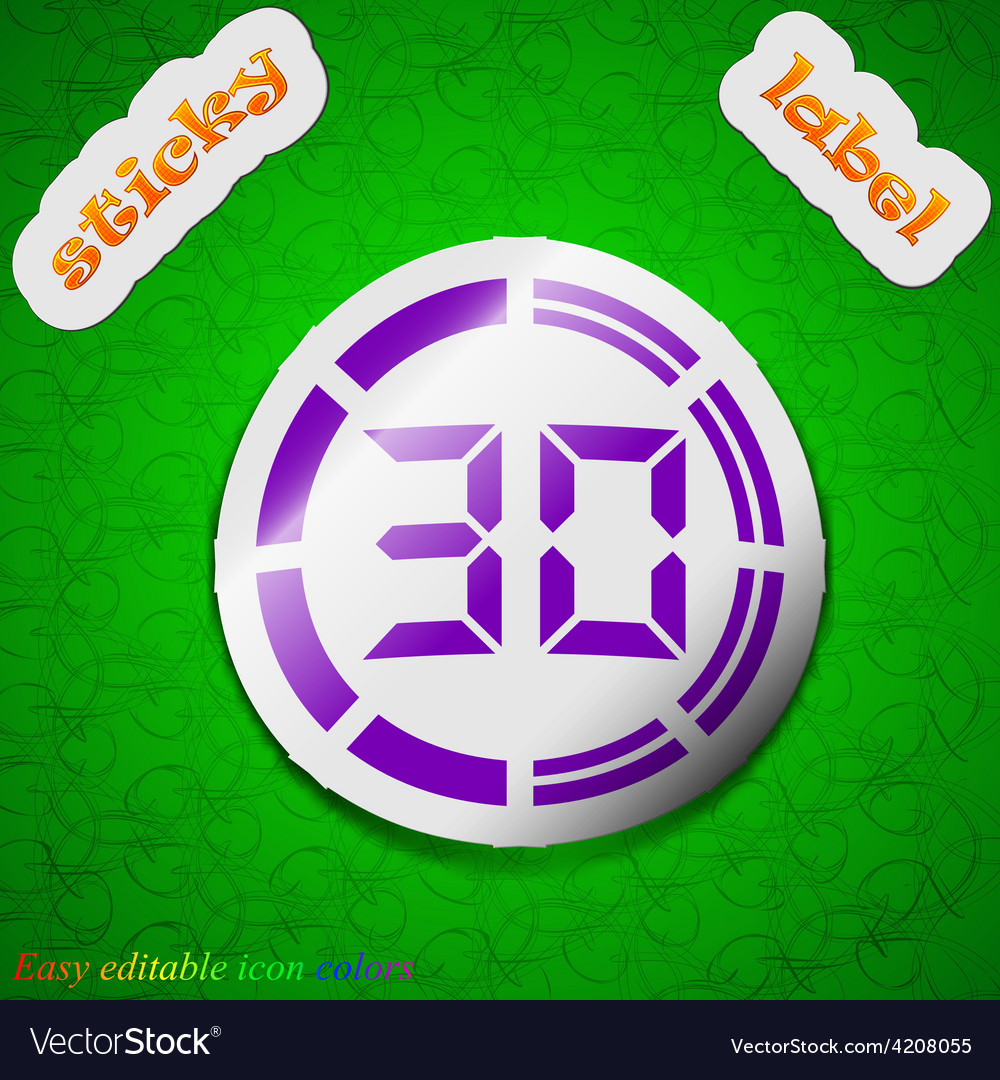 30 second stopwatch icon sign symbol chic colored vector | Price: 1 Credit (USD $1)