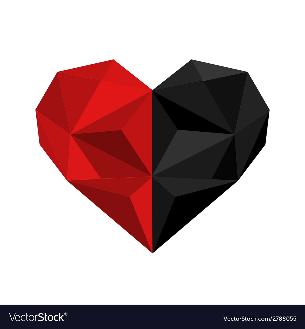 Black and red origami heart vector | Price: 1 Credit (USD $1)