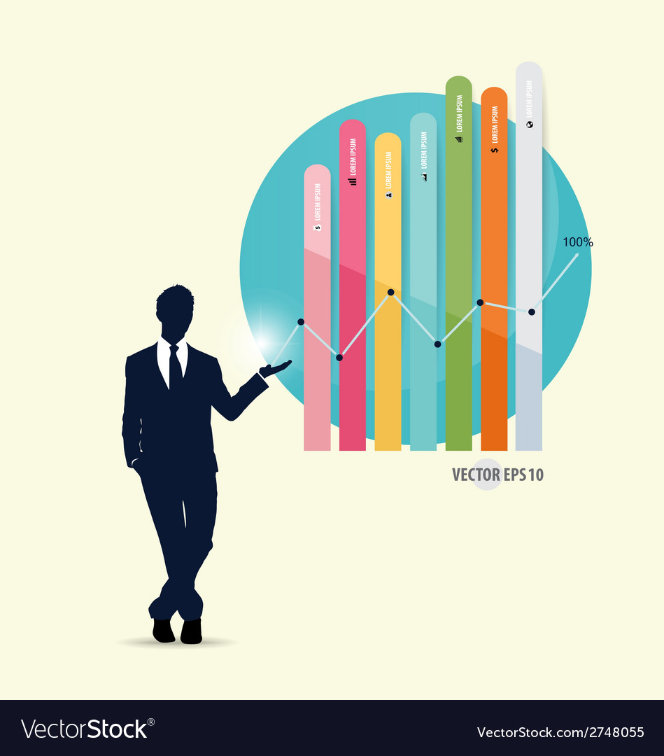 Businessman showing graph vector   Price: 1 Credit (USD $1)