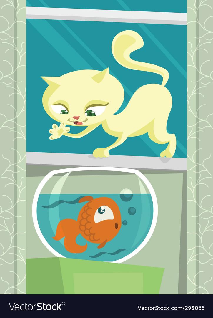 Cartoon cat hunting fish vector | Price: 3 Credit (USD $3)