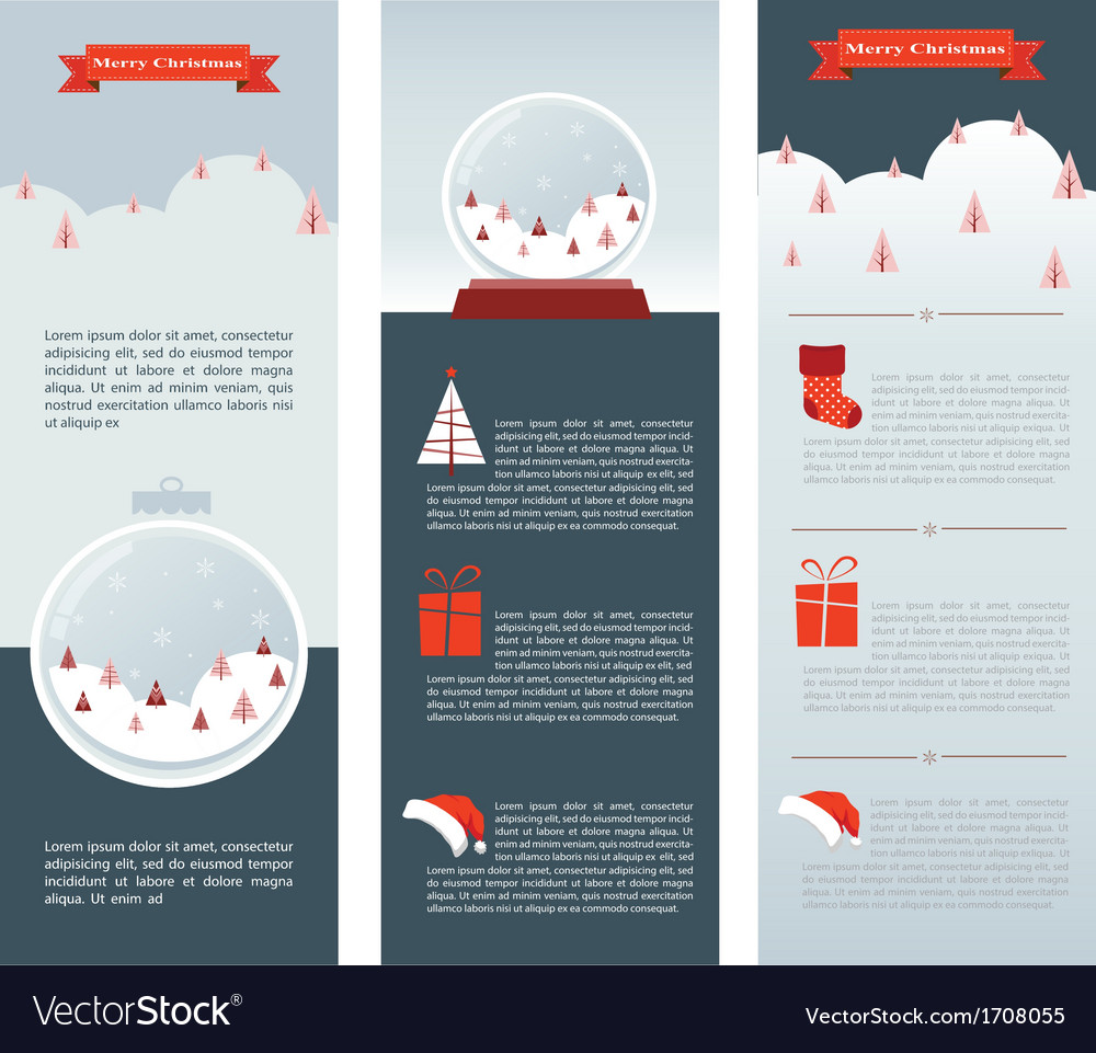 Christmas infographic set of three info cards vector | Price: 1 Credit (USD $1)