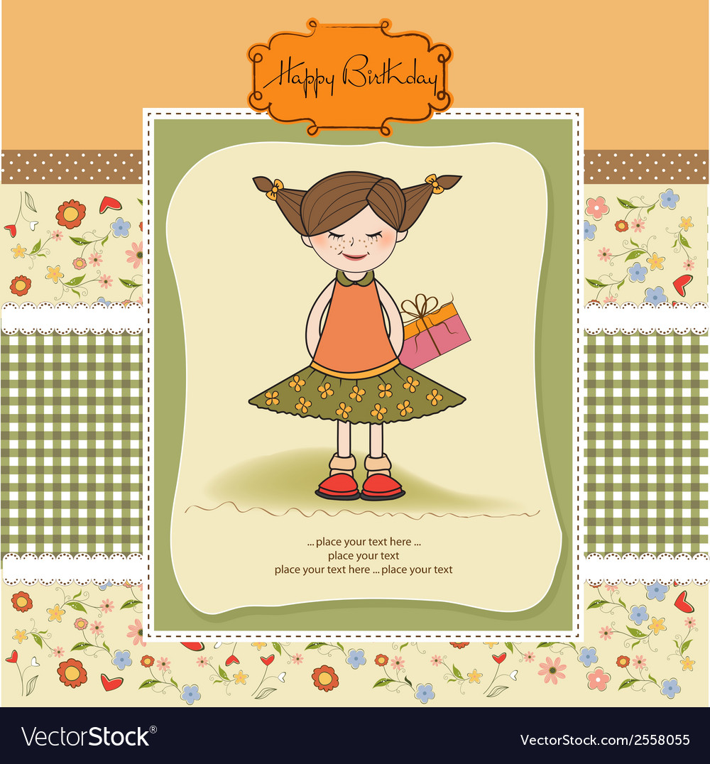 Excited young girl she hide a special gift vector | Price: 1 Credit (USD $1)