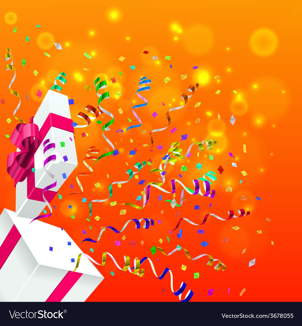 Gift with confetti background vector | Price: 1 Credit (USD $1)