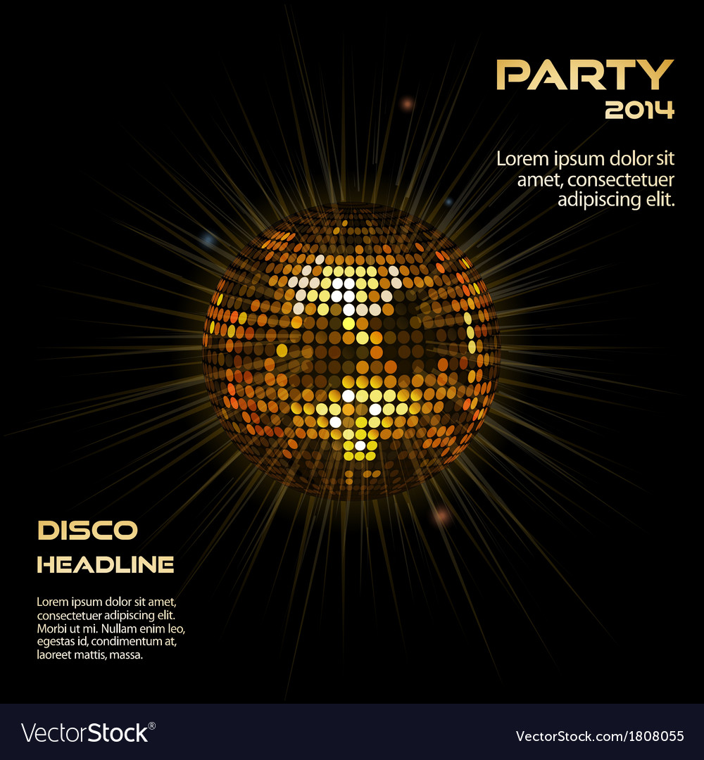 Gold disco ball party background vector | Price: 1 Credit (USD $1)