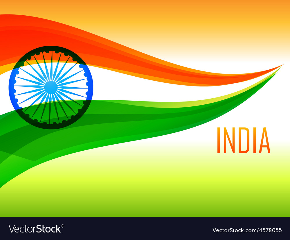 Indian flag made with tricolor wave vector | Price: 1 Credit (USD $1)