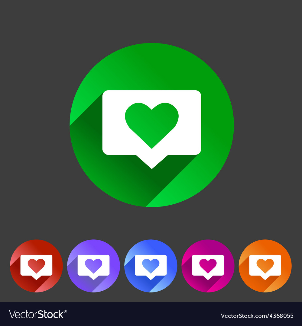Like counter notification flat icon sign set vector | Price: 1 Credit (USD $1)