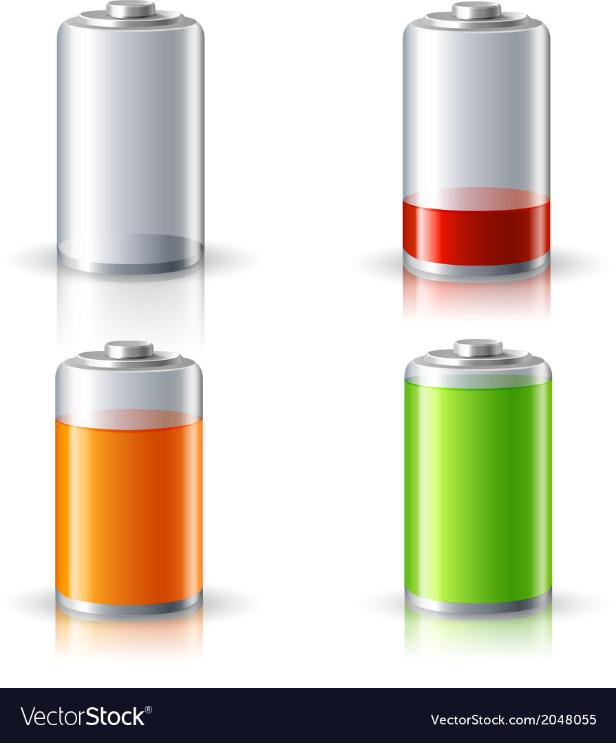 Realistic battery status icons set vector | Price: 1 Credit (USD $1)