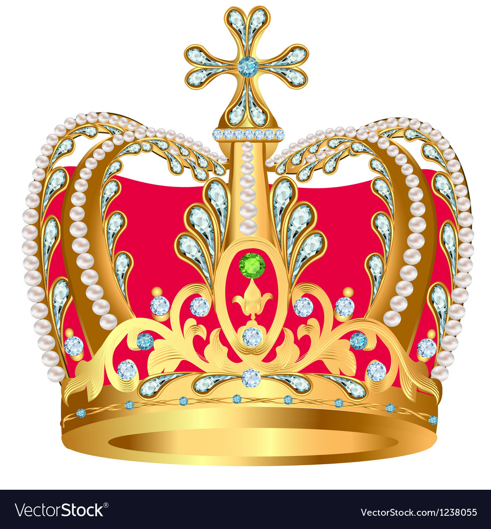 Royal gold crown with jewels and ornament vector | Price: 1 Credit (USD $1)