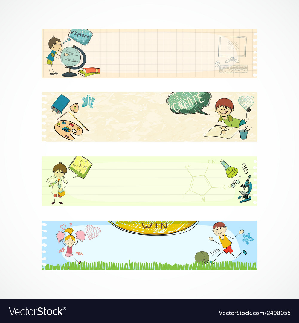 School kids education banners vector | Price: 1 Credit (USD $1)