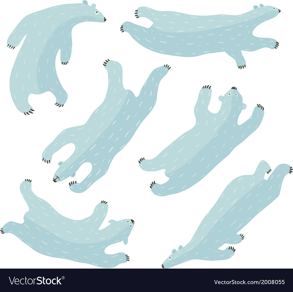 Swimming polar bears collection vector | Price: 1 Credit (USD $1)