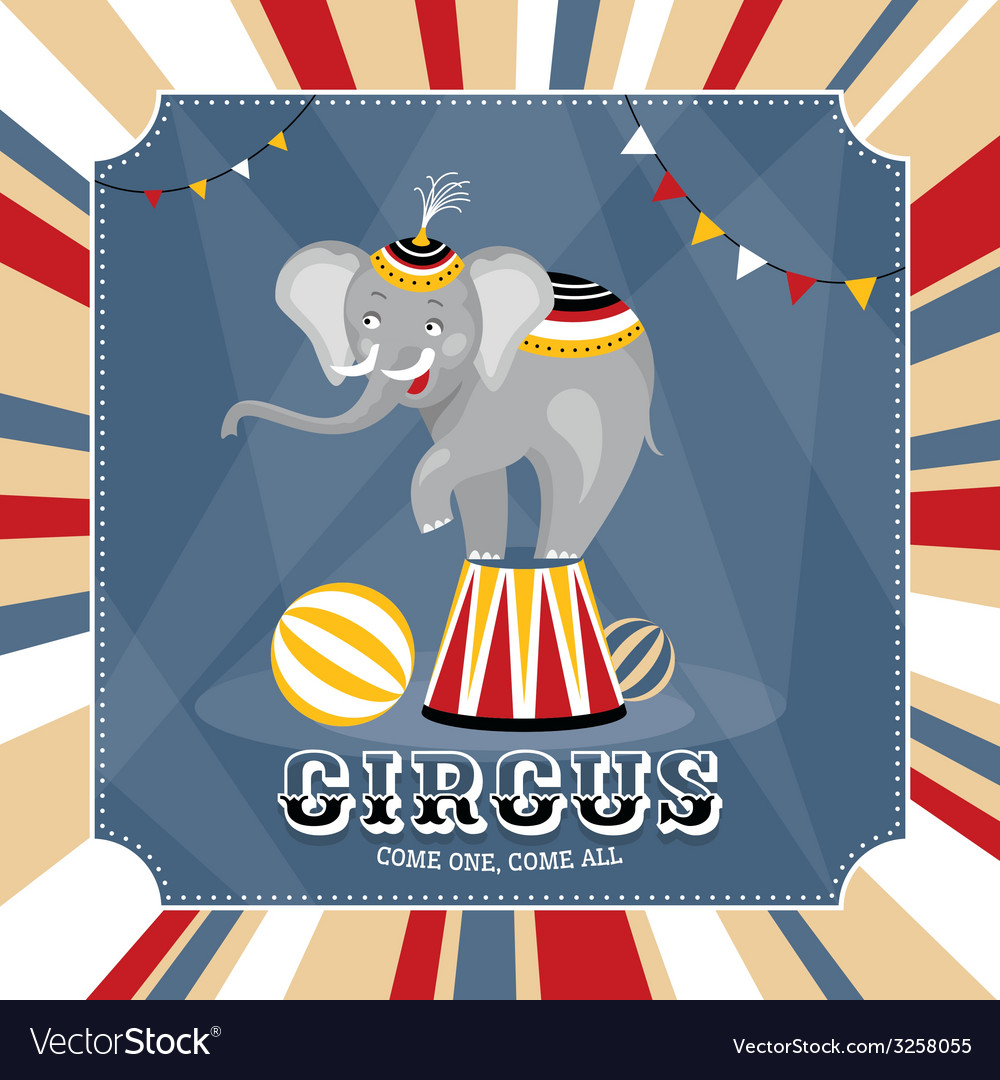 Vintage card with elephant vector | Price: 1 Credit (USD $1)