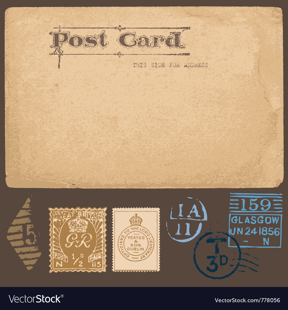 Antique postcards in with set of postal stamps vector | Price: 1 Credit (USD $1)