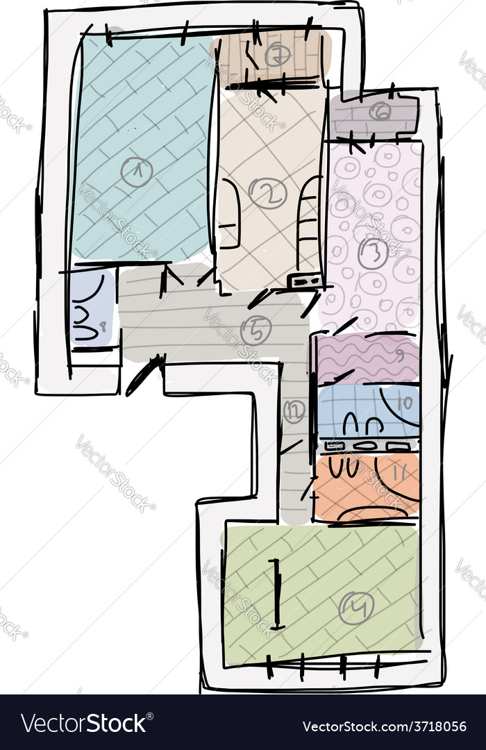 Apartment plan without furniture sketch for your vector | Price: 1 Credit (USD $1)