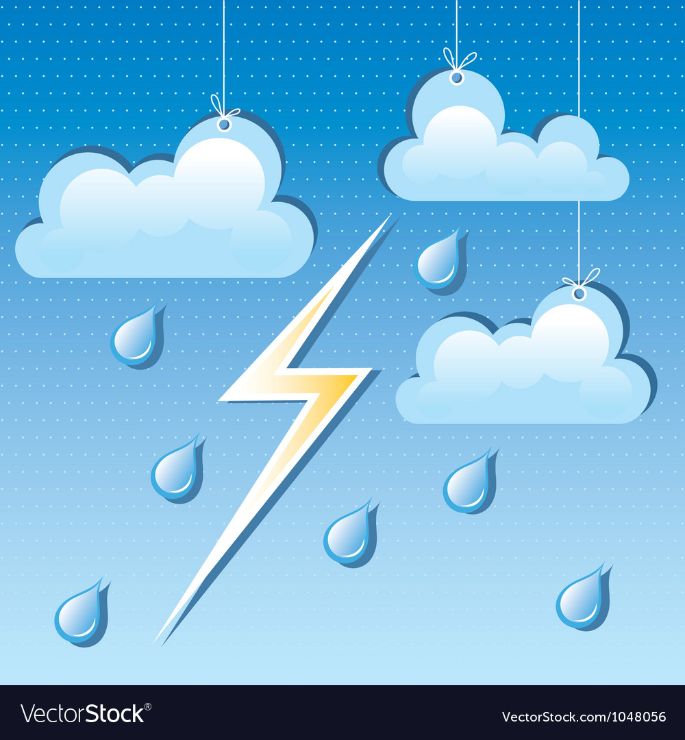 Cloud rain drops and lightning vector | Price: 1 Credit (USD $1)