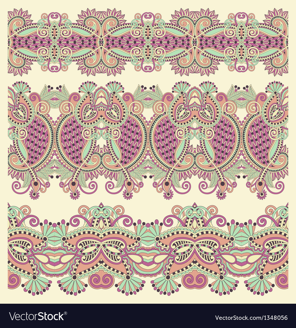 Collection of seamless ornamental floral stripes vector | Price: 1 Credit (USD $1)