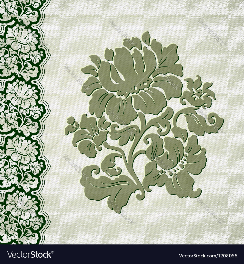 Flower and border vintage lace vector | Price: 1 Credit (USD $1)