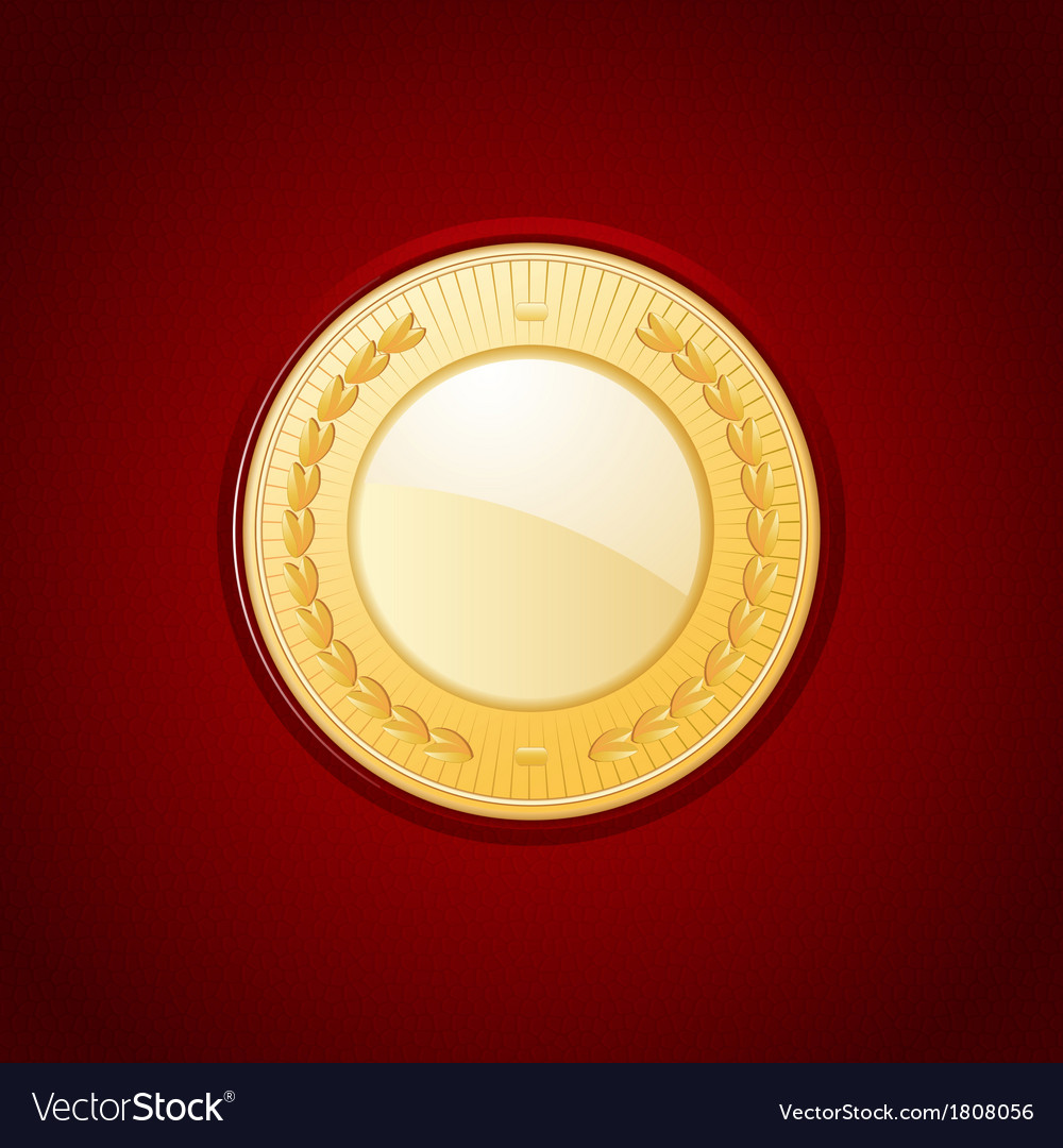 Gold medal on red leather vector | Price: 1 Credit (USD $1)