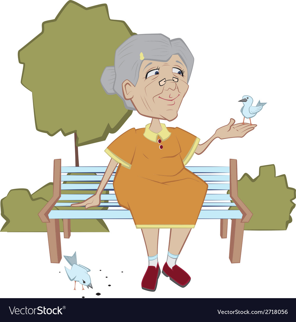Grandmother on the bench feeding birds vector | Price: 1 Credit (USD $1)