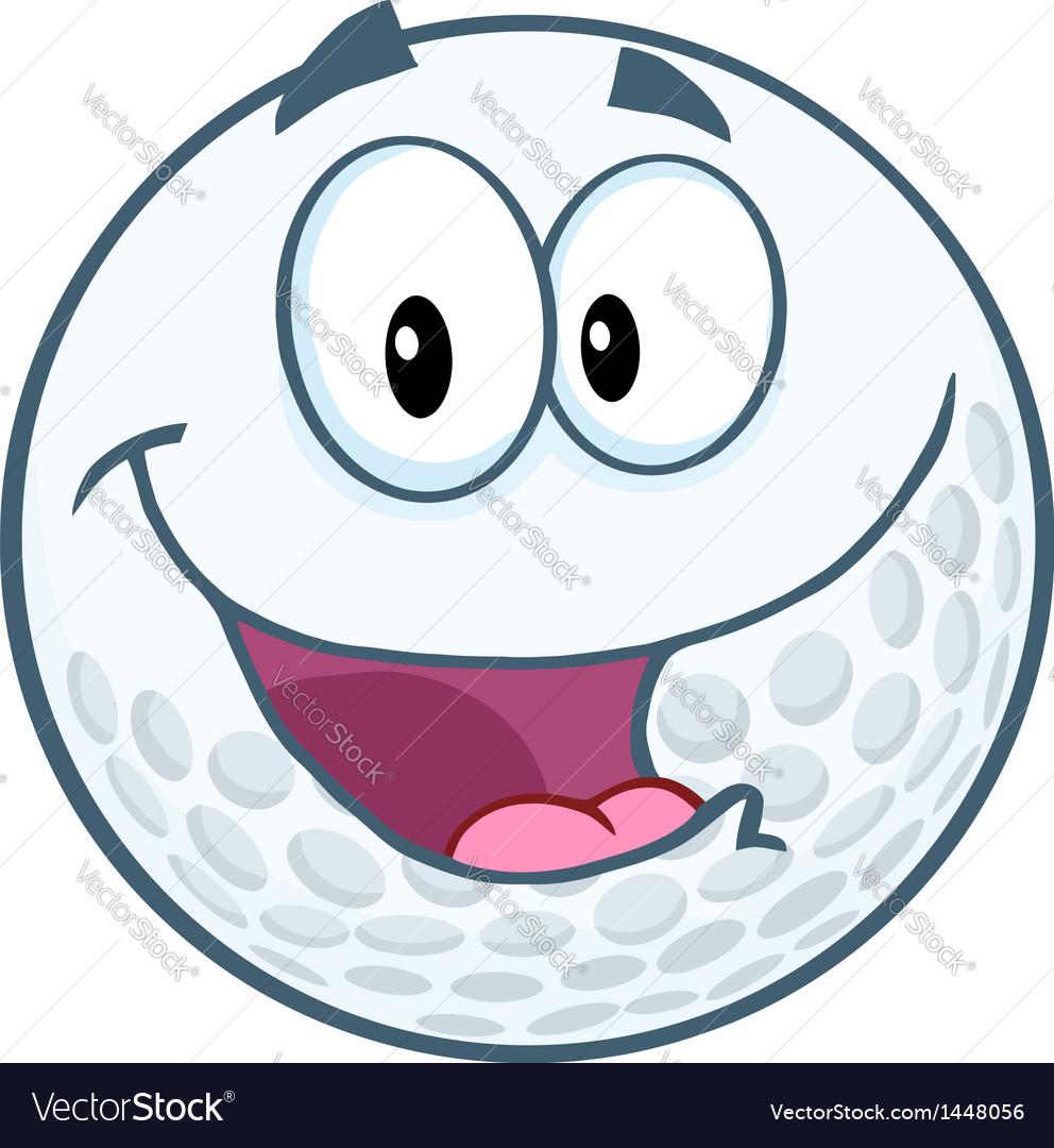Happy golf ball cartoon mascot character vector | Price: 1 Credit (USD $1)