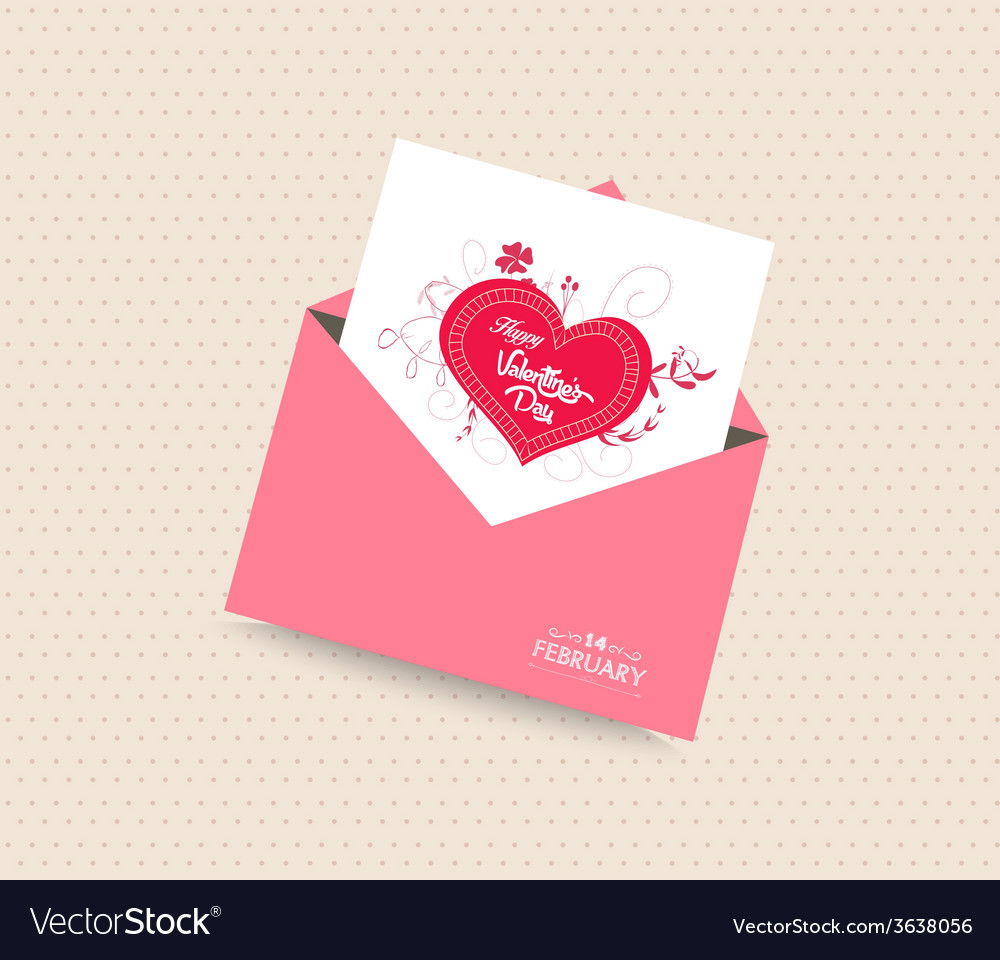 Happy valentines day card with envelope heart vector   Price: 1 Credit (USD $1)
