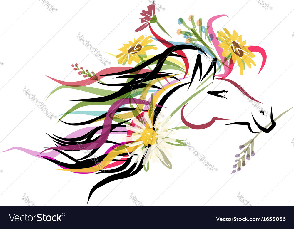 Horse head sketch with floral decoration for your vector | Price: 1 Credit (USD $1)