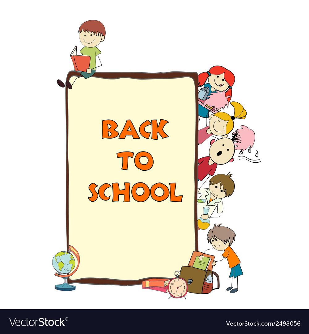 Kids school sketch poster vector | Price: 1 Credit (USD $1)
