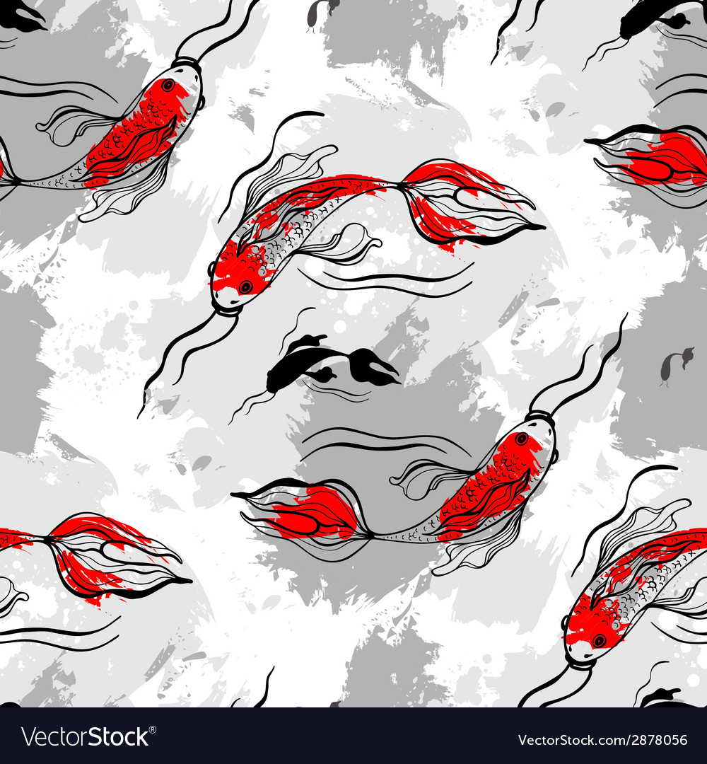 Koi fishes seamless pattern vector | Price: 1 Credit (USD $1)
