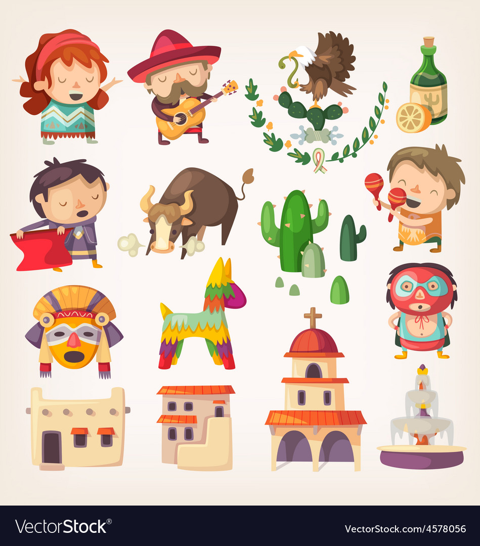 Mexican people architecture and local heroes vector | Price: 5 Credit (USD $5)