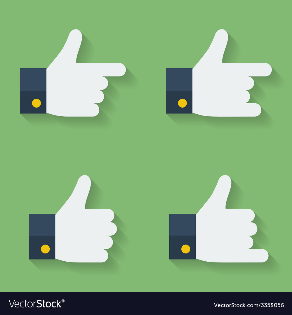 Thumbs up icon set flat style vector | Price: 1 Credit (USD $1)