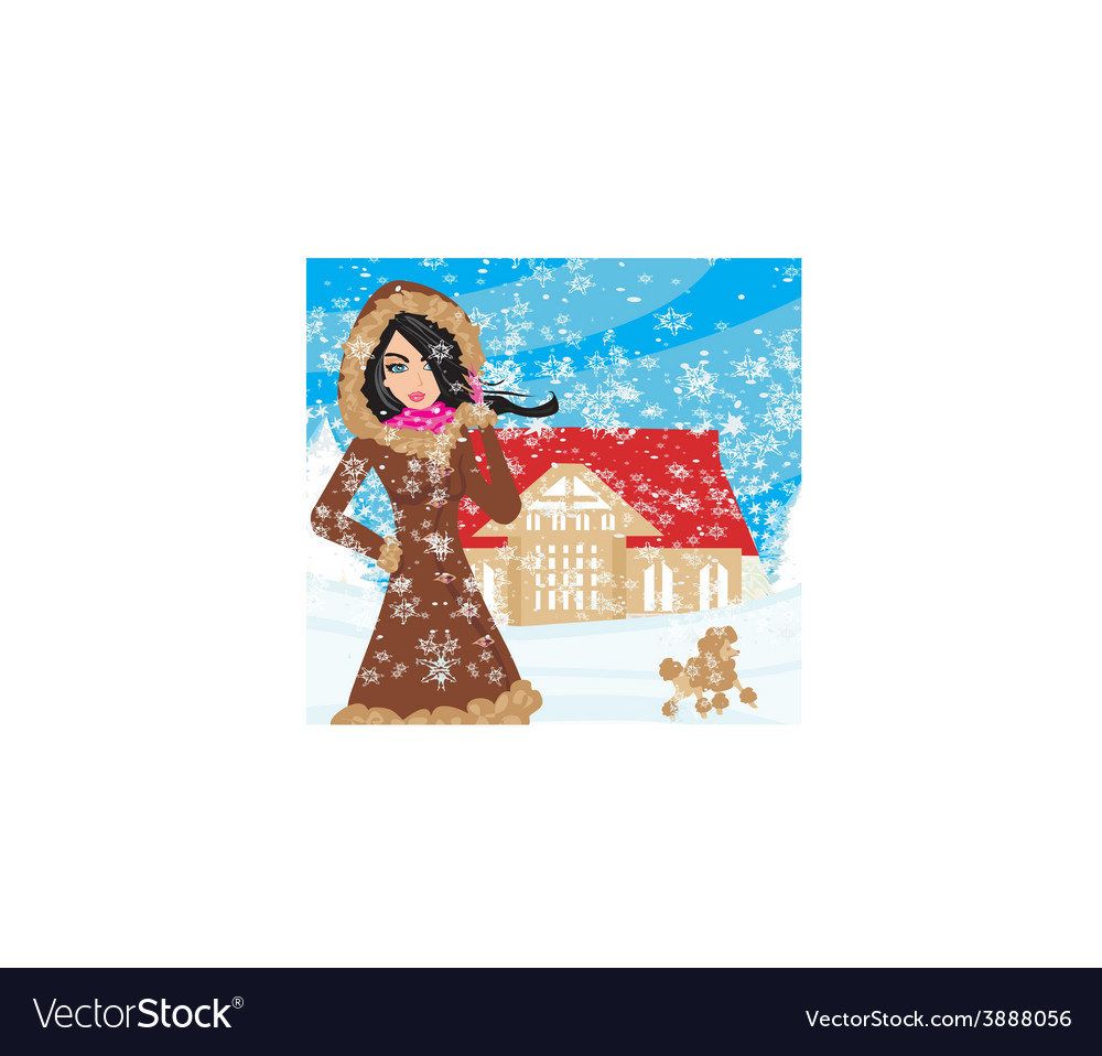 Walk the dog on a snowy day vector   Price: 1 Credit (USD $1)