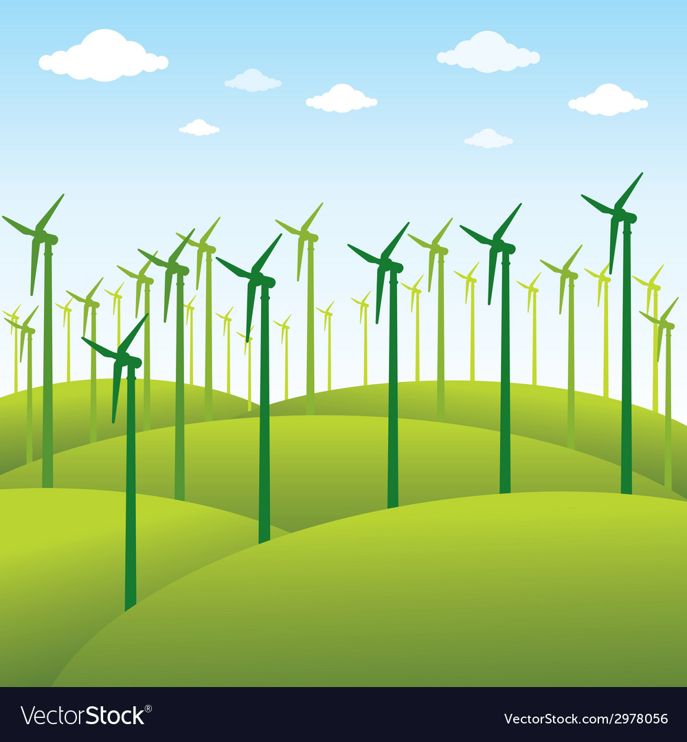Windmill or green energy source background vector | Price: 1 Credit (USD $1)