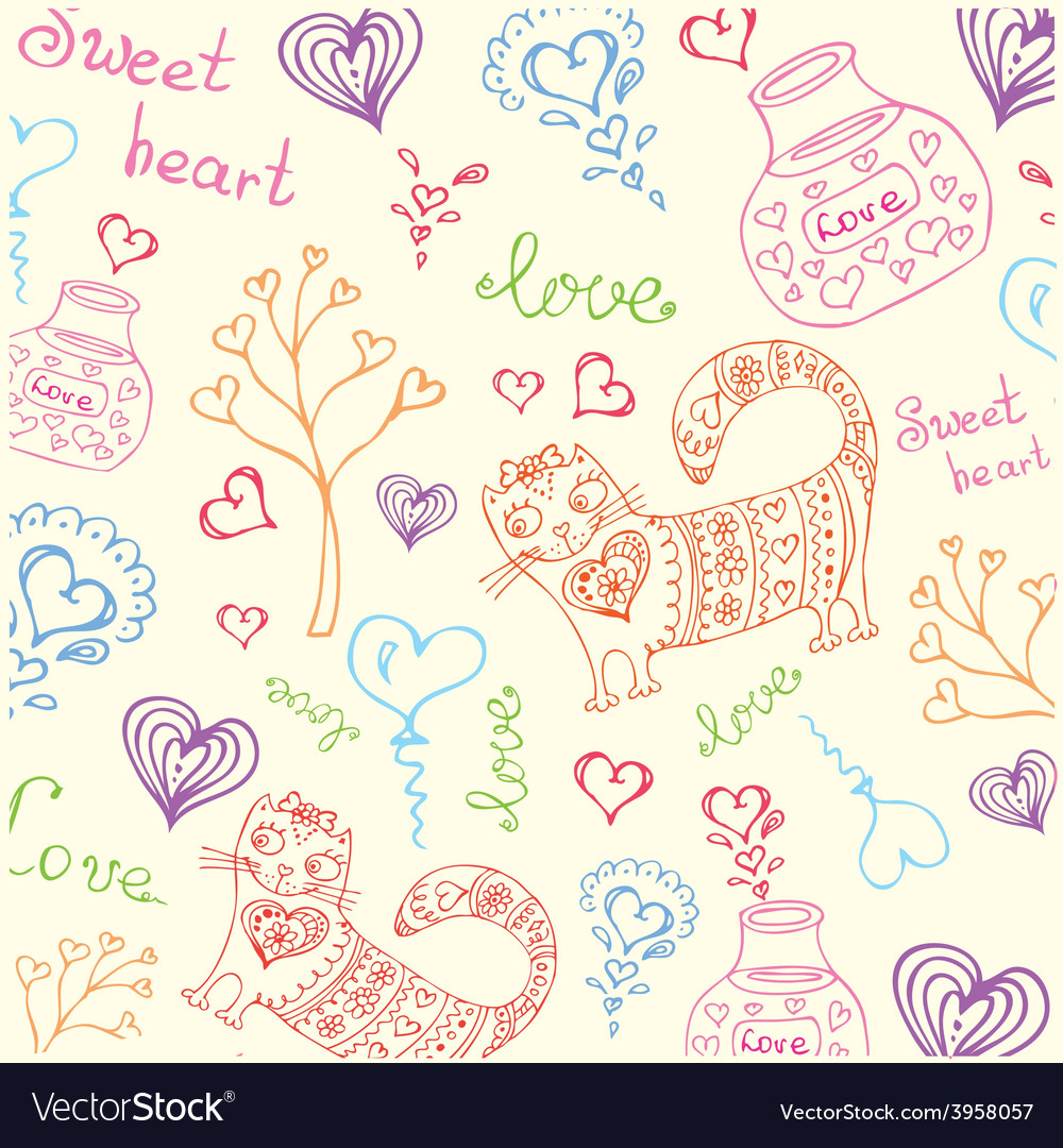 Background with different cute animals and objects vector | Price: 1 Credit (USD $1)