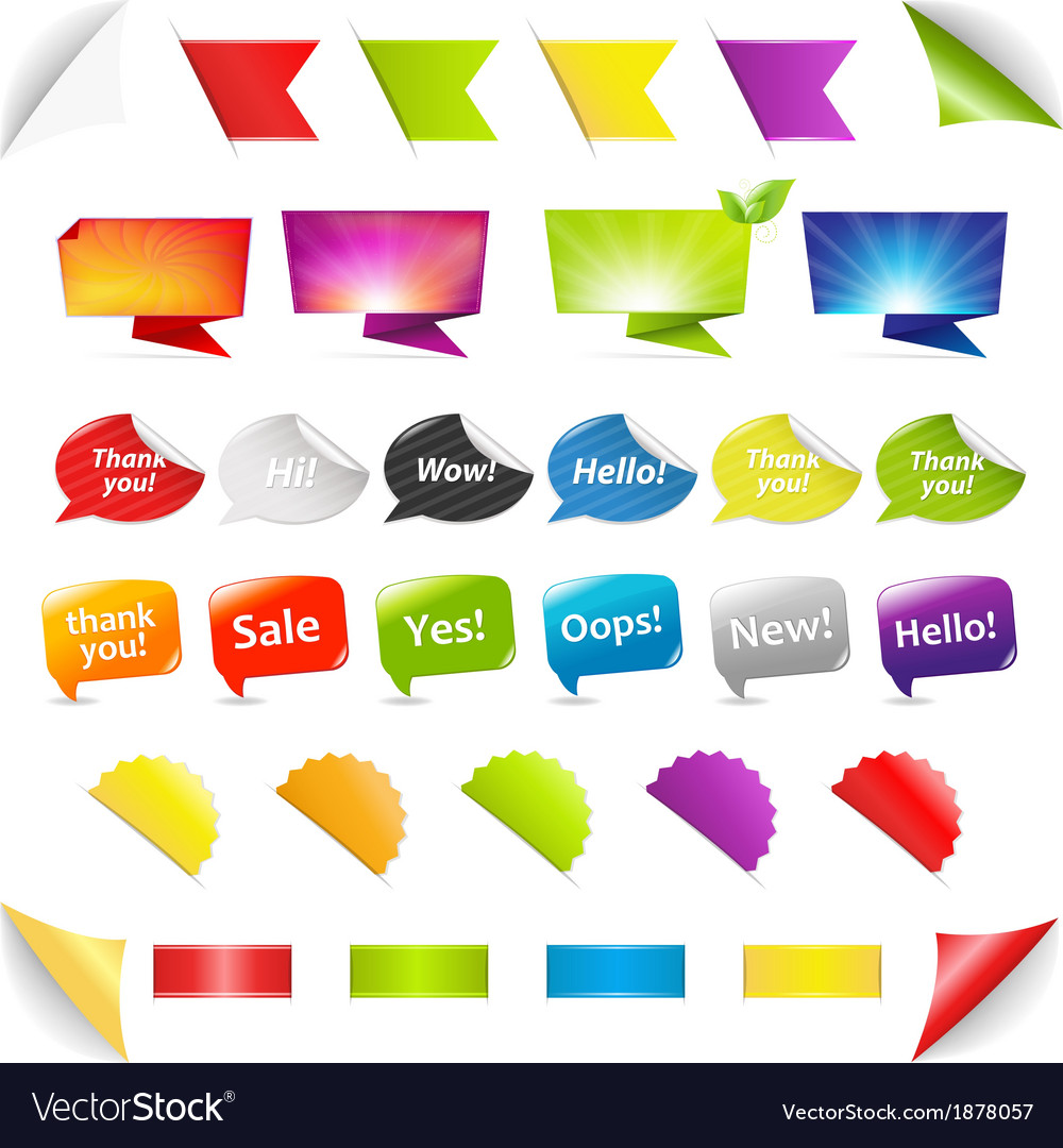 Big set stickers and ribbons vector | Price: 1 Credit (USD $1)