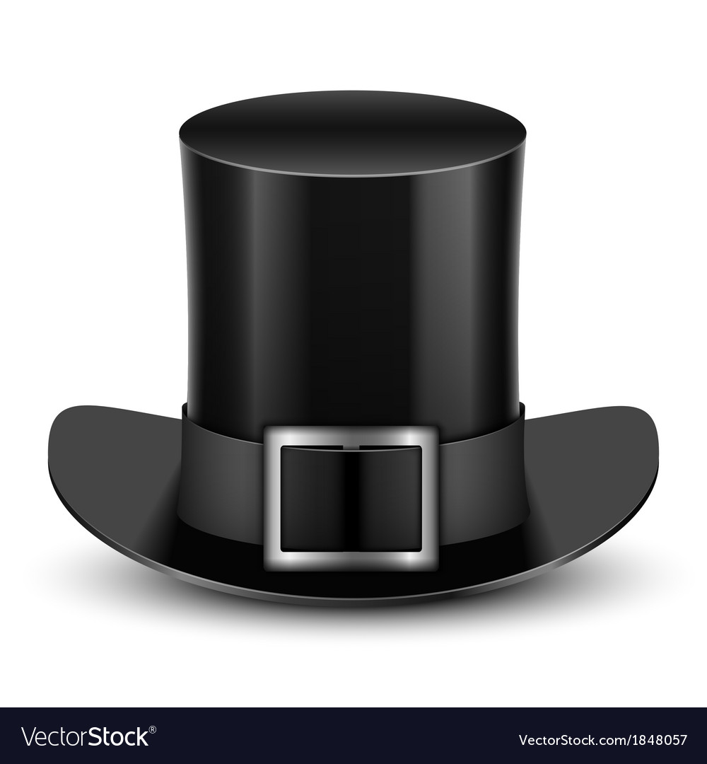 Black top hat with metallic buckle vector | Price: 1 Credit (USD $1)