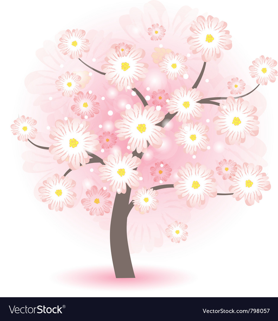 Blossom tree with pink flowers vector | Price: 1 Credit (USD $1)