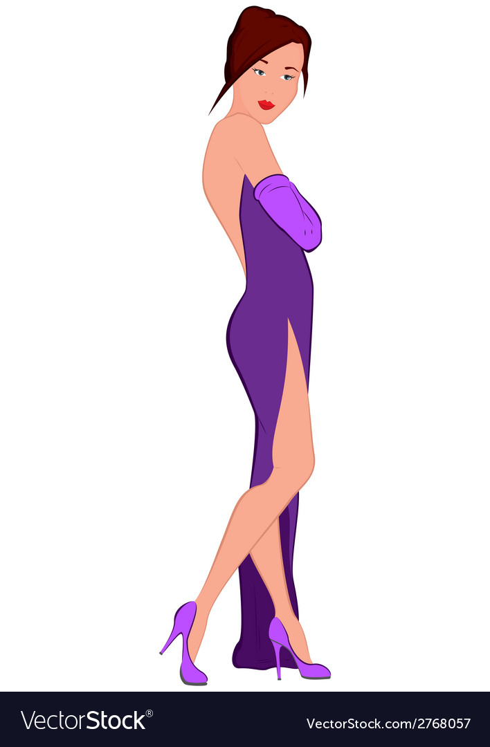 Cartoon young woman in purple evening dress with vector | Price: 1 Credit (USD $1)