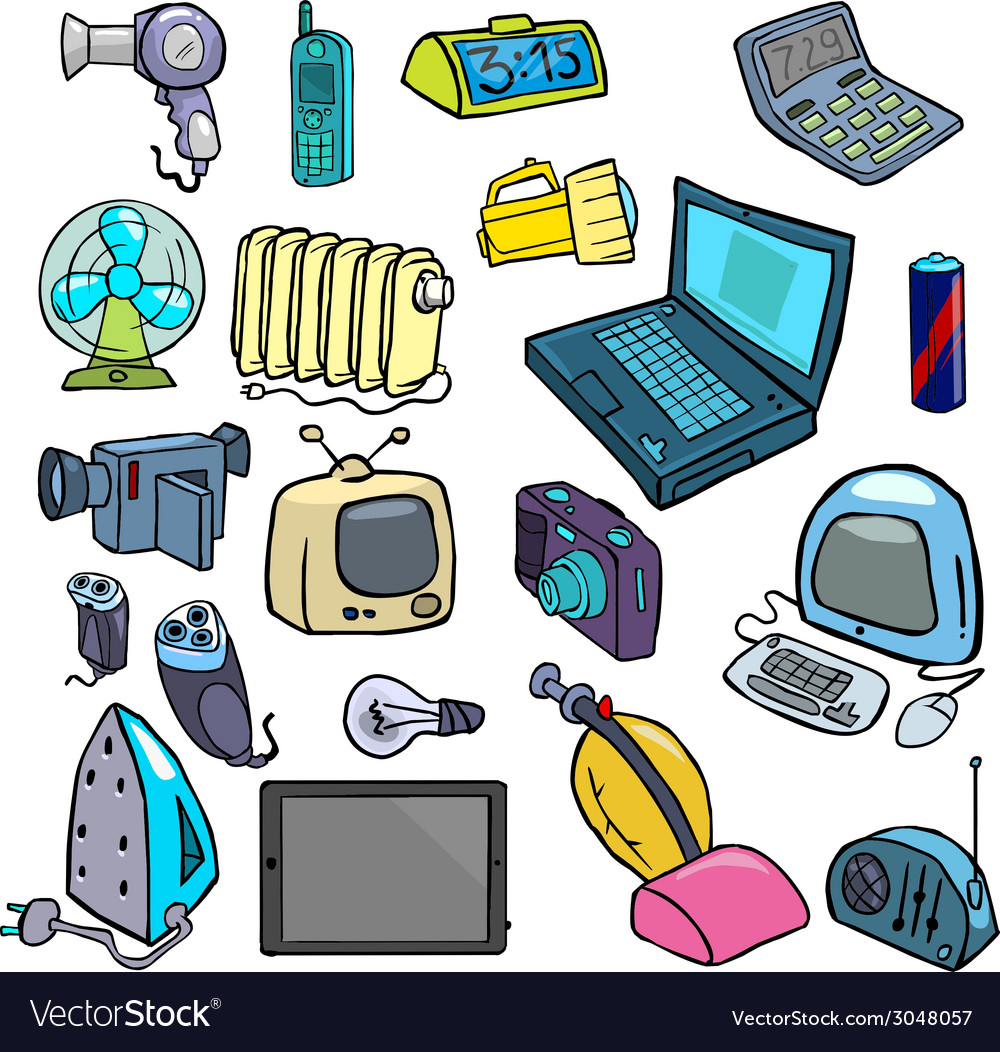 Cartoonish electric devices vector | Price: 1 Credit (USD $1)