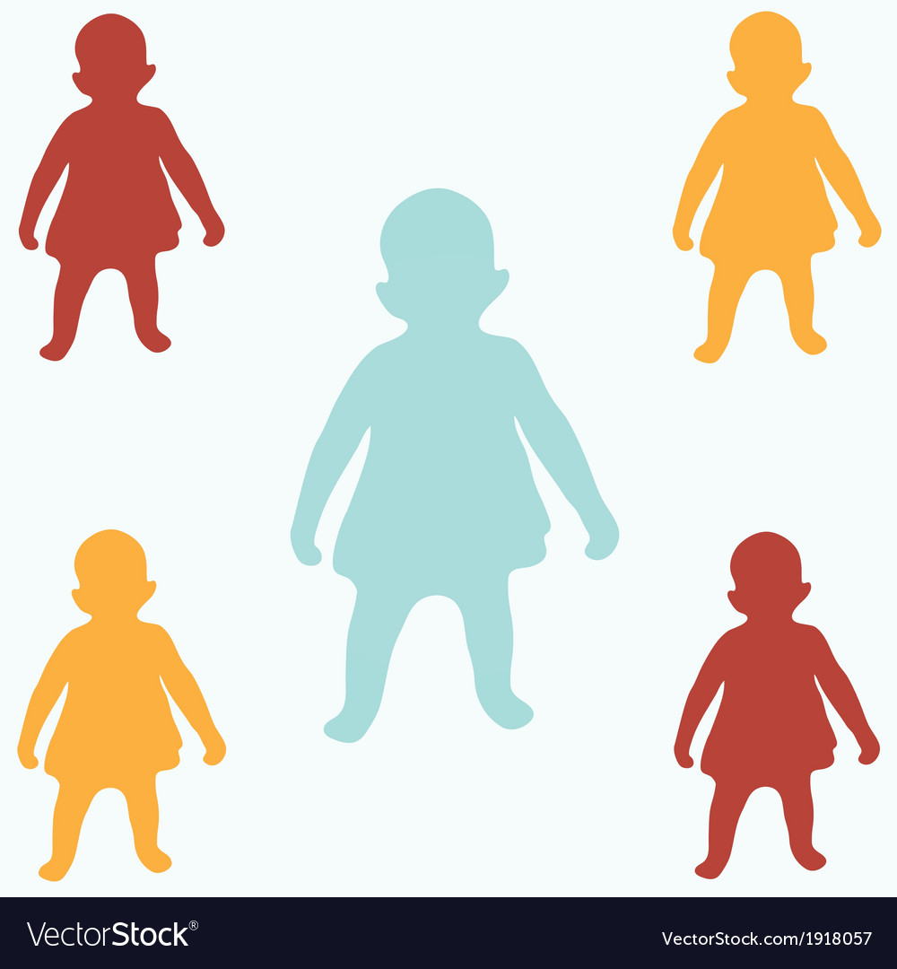 Colored children silhouettes vector | Price: 1 Credit (USD $1)