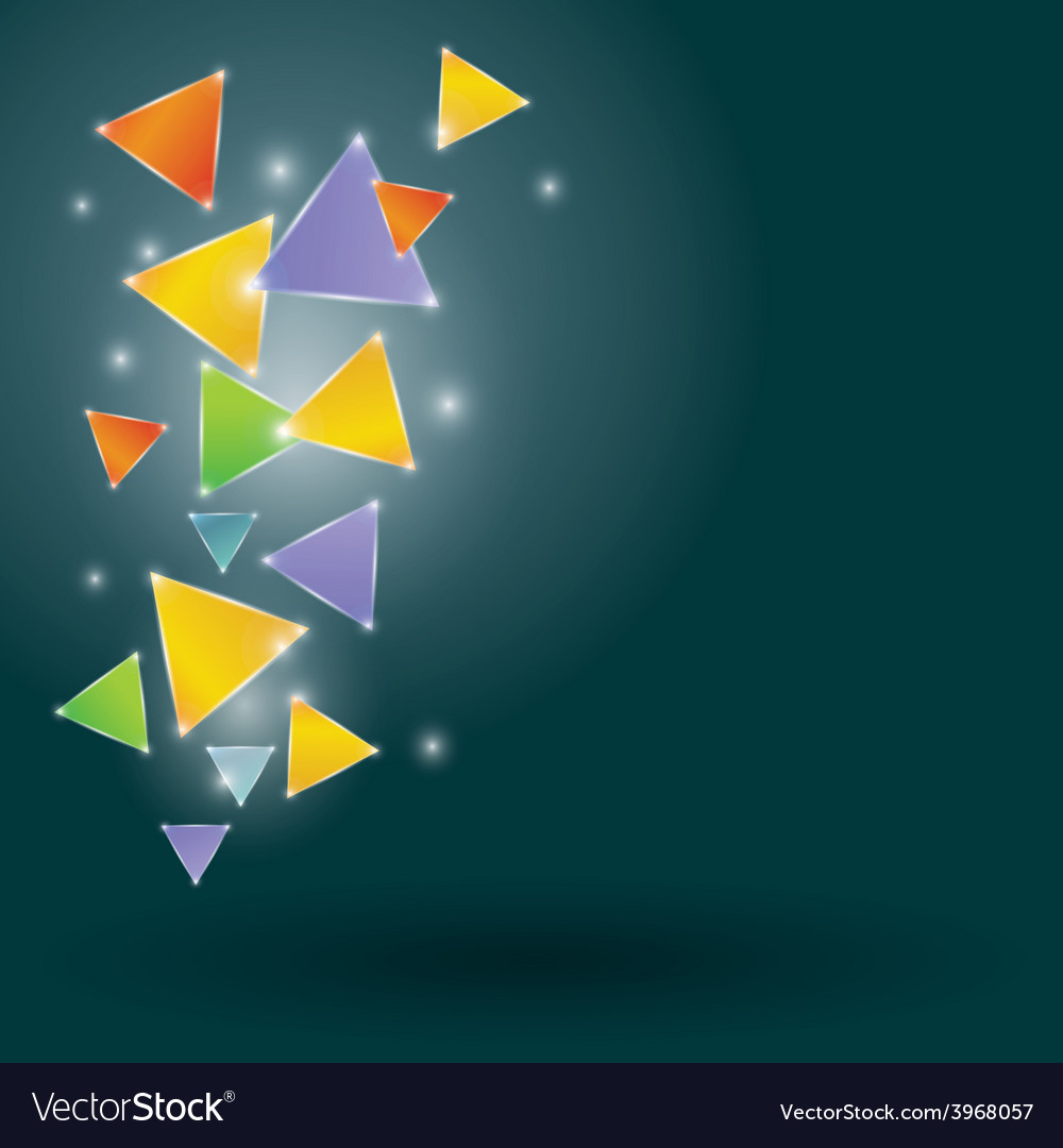 Glowing triangles on a black background vector | Price: 1 Credit (USD $1)