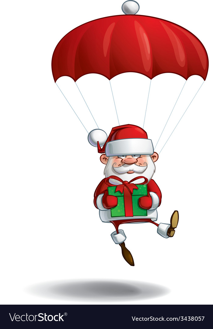 Happy santa parachute holding a gifts vector | Price: 3 Credit (USD $3)