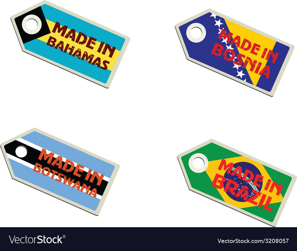 Label made in bahamas bosnia botswana brazil vector | Price: 1 Credit (USD $1)