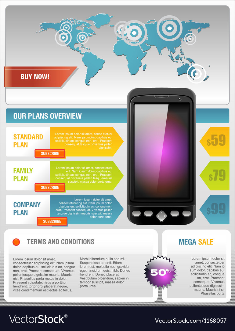 Mobile cell smart phone telecom provider flyer vector | Price: 1 Credit (USD $1)