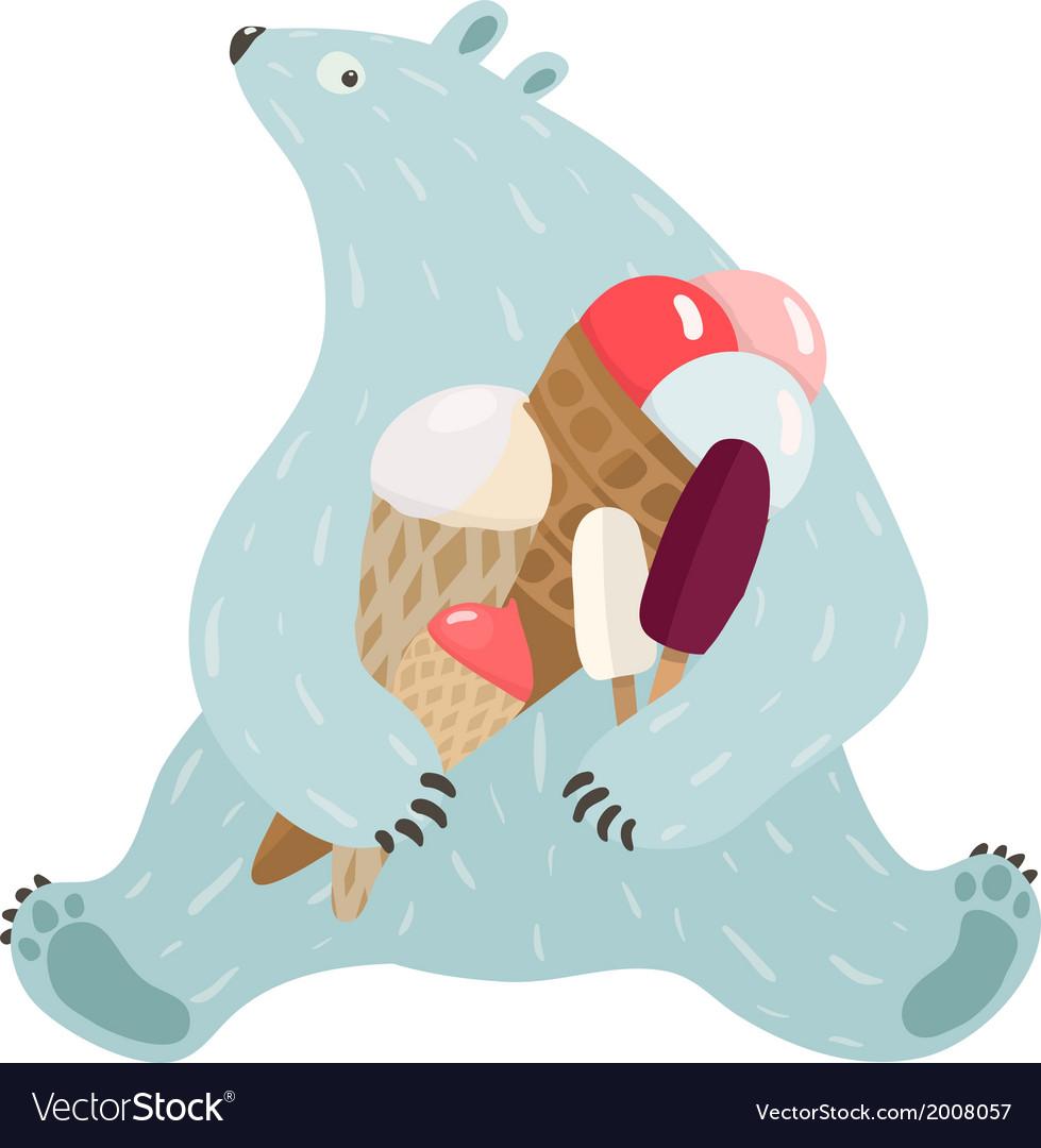 Polar bear and ice cream vector | Price: 1 Credit (USD $1)