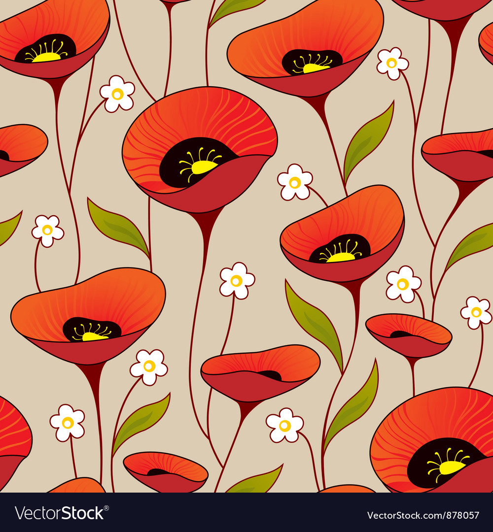 Poppies background vector | Price: 1 Credit (USD $1)