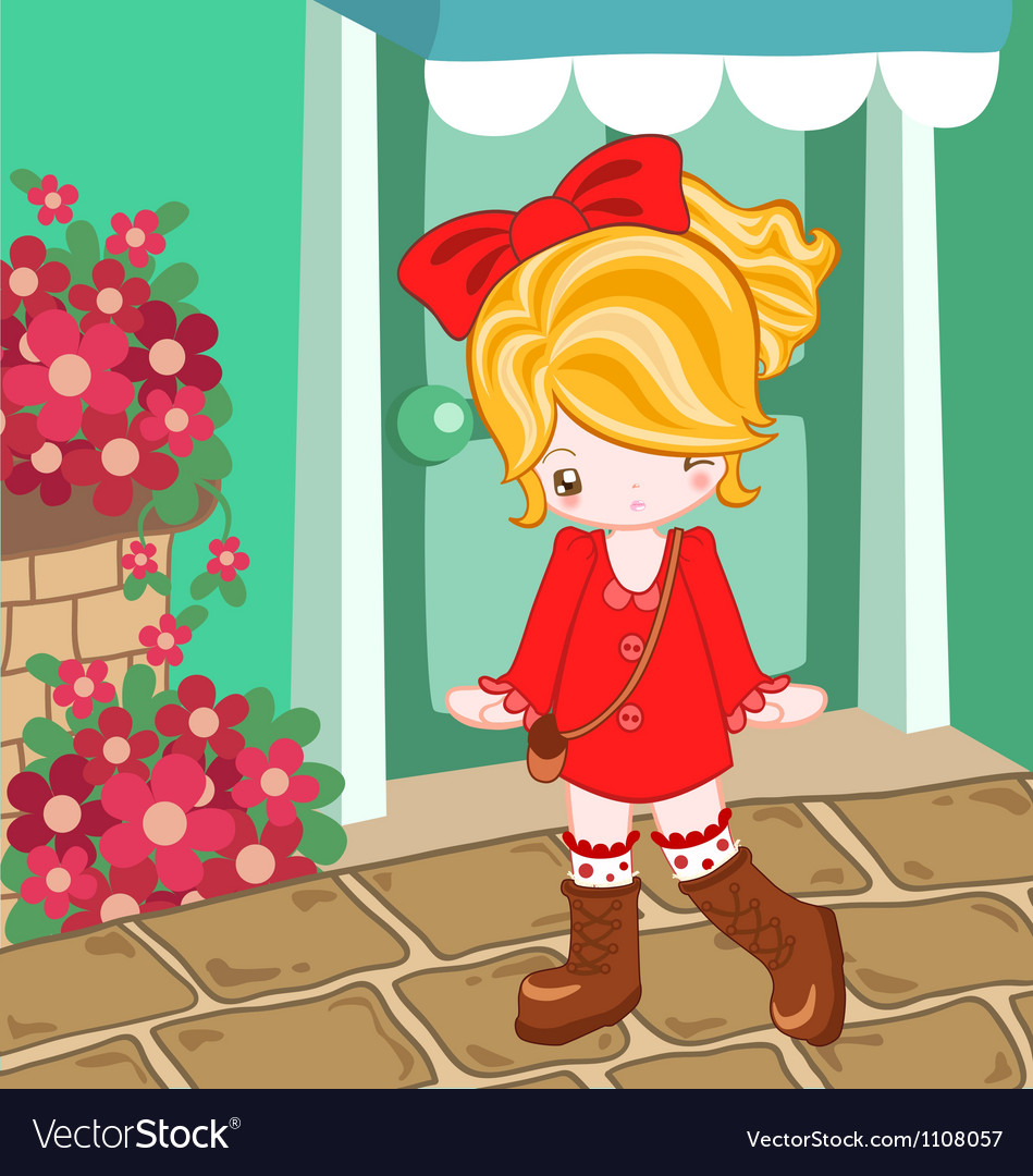 Red dress cute look vector | Price: 1 Credit (USD $1)